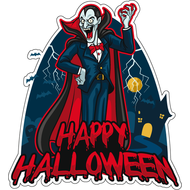 Наклейка Happy Halloween Дракула, фото 1