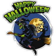 Наклейка Happy Halloween Ведьма, фото 1