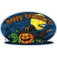 Наклейка Happy Halloween Ворон и тыква, фото 1