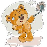Наклейка Мишка Тедди делает cелфи, фото 1