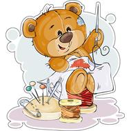 Наклейка Мишка Тедди вышивает, фото 1