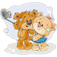 Наклейка Мишка Тедди с подружкой делают селфи, фото 1