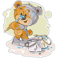 Наклейка Мишка Тедди разукрашивает себя, фото 1