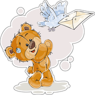Наклейка Мишка Тедди отправляет почтового голубя, фото 1