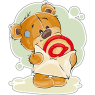 Наклейка Мишка Тедди открывает конверт, фото 1