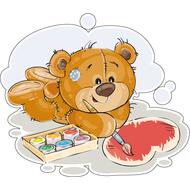 Наклейка Мишка Тедди красит сердечко, фото 1