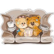 Наклейка Мишка Тедди с подружкой и ведром попкорна, фото 1