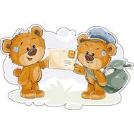 Наклейка Мишка почтальон вручает письмо Мишке Тедди, фото 1