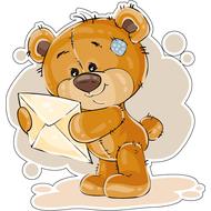 Наклейка Мишка Тедди получил письмо, фото 1