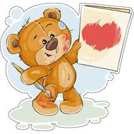 Наклейка Мишка Тедди нарисовал валентинку, фото 1