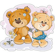 Наклейка Мишка Тедди дарит ромашки подружке, фото 1
