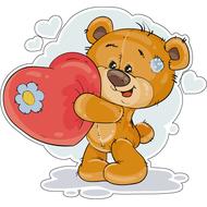 Наклейка Мишка Тедди и плюшевое сердце, фото 1