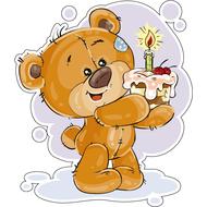 Наклейка Мишка Тедди и кусочек торта со свечкой, фото 1