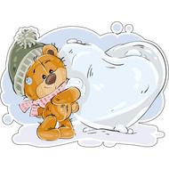 Наклейка Мишка Тедди слепил большое сердце из снега, фото 1