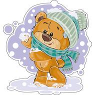 Наклейка Мишка Тедди ловит снежинки, фото 1