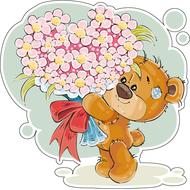 Наклейка Мишка Тедди с большим букетом, фото 1
