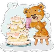 Наклейка Мишка Тедди украшает торт, фото 1