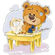 Наклейка Мишка Тедди пишет письмо, фото 1