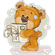 Наклейка Мишка Тедди с подарком, фото 1