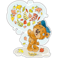 Наклейка Мишка Тедди играет с листьями, фото 1