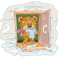 Наклейка Мишка Тедди и сердце изо льда, фото 1