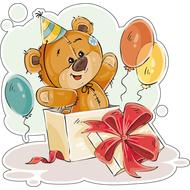 Наклейка Мишка Тедди в коробке, фото 1