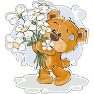 Наклейка Мишка Тедди с букетом ромашек, фото 1