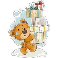 Наклейка Мишка Тедди с коробками подарков, фото 1