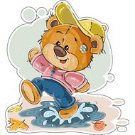 Наклейка Мишка Тедди топает по лужам, фото 1