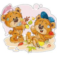 Наклейка Мишка Тедди с другом играют с листьями, фото 1