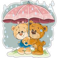Наклейка Мишка Тедди с подружкой прячутся под зонтом, фото 1