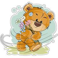 Наклейка Мишка Тедди с полевыми цветочками, фото 1
