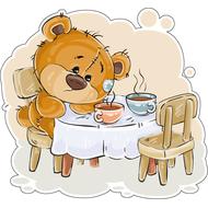 Наклейка Одинокий Мишка Тедди и 2 чашки чая, фото 1
