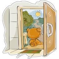 Наклейка Мишка Тедди ждет у порога, фото 1