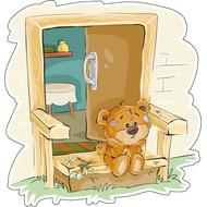 Наклейка Мишка Тедди в печали, фото 1