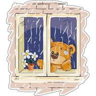 Наклейка Мишка Тедди грустит, за окном дождь, фото 1