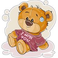 Наклейка Мишка Тедди в футболке, фото 1