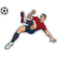 Наклейка Игрок в красно-синей форме бьет по мячу, фото 1