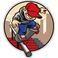 Наклейка Скейтбордист катится по перилам, фото 1