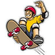 Наклейка Скейтбордист в полете, фото 1