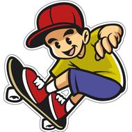 Наклейка Скейтбордист в прыжке, фото 1