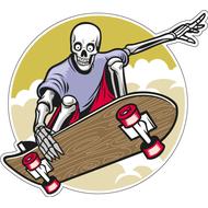 Наклейка Скелет на скейте, фото 1