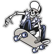 Наклейка Скелет в джинсах на скейтборде, фото 1