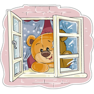 Наклейка Мишка Тедди смотрит в открытое окно, фото 1