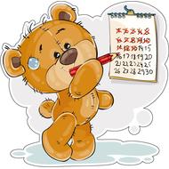 Наклейка Мишка Тедди отмечает календарь, фото 1