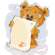 Наклейка Мишка Тедди читает список, фото 1