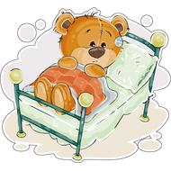 Наклейка Мишка Тедди в кроватке, фото 1