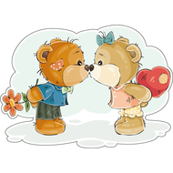 Наклейка Мишка Тедди целует подружку, фото 1