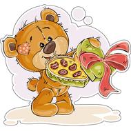 Наклейка Мишка Тедди с коробкой конфет, фото 1