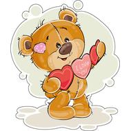 Наклейка Мишка Тедди и валентинки, фото 1